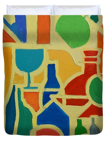 Bottles And Glasses 2 Duvet Cover by Ana Maria Edulescu