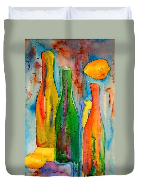 Bottles And Lemons Duvet Cover