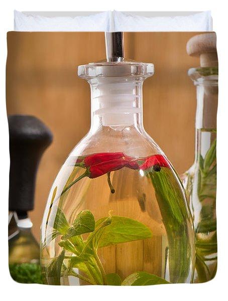 Bottles Of Olive Oil Duvet Cover by Amanda Elwell