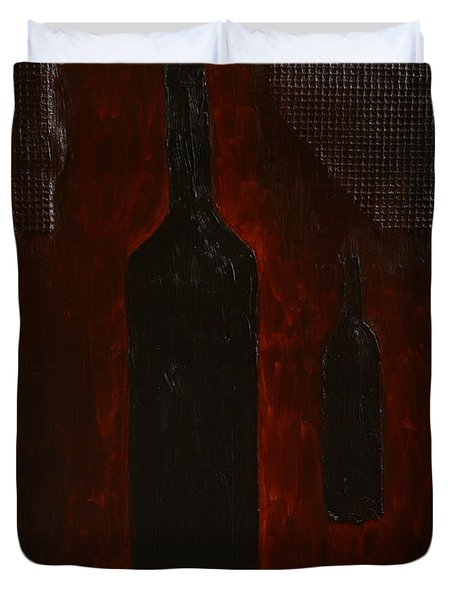 Duvet Cover featuring the painting Bottles by Shawn Marlow