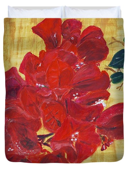 Duvet Cover featuring the painting Bougainvillea by Linda Feinberg