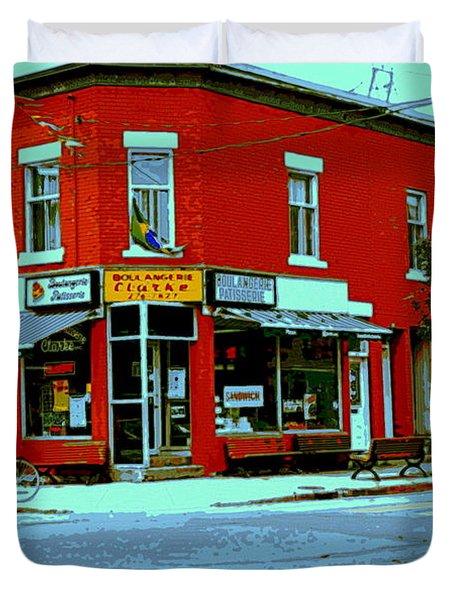 Boulangerie Patisserie Clarke Sandwich Shop Corner Depanneur Montreal Street Scene Art Duvet Cover by Carole Spandau