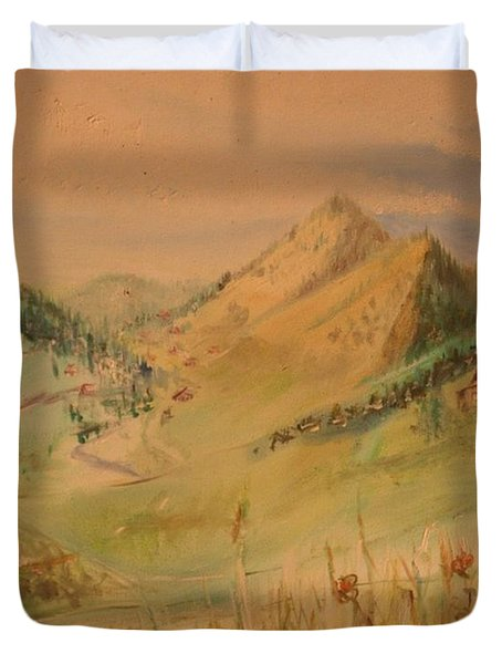 Boulder Colorado Painting Duvet Cover
