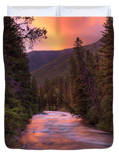 Boulder River Sunset Duvet Cover by Leland D Howard