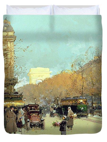 Boulevard Haussmann In Paris Duvet Cover by Eugene Galien-Laloue
