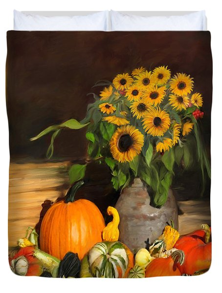 Bountiful Harvest - Floral Painting Duvet Cover by Enzie Shahmiri