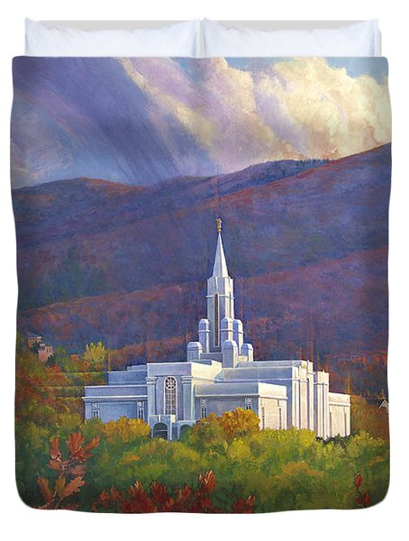 Bountiful Temple In The Mountains Duvet Cover by Rob Corsetti