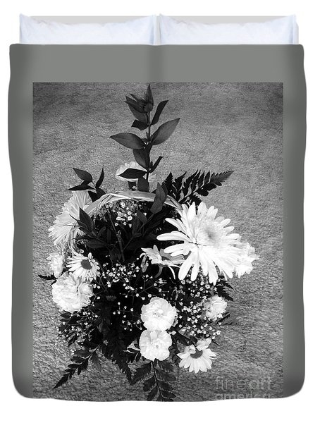Bouquet In Black And White Duvet Cover