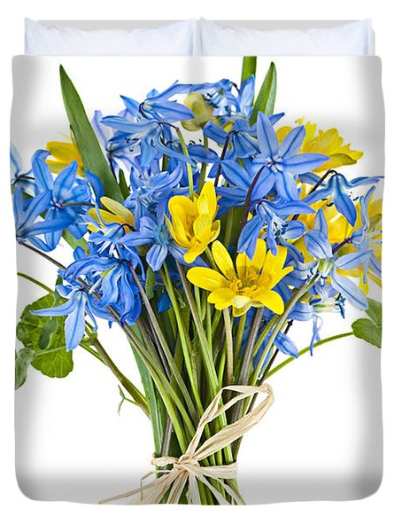 Bouquet Of Fresh Spring Flowers Duvet Cover by Elena Elisseeva