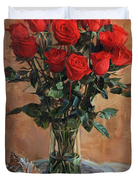 Bouquet Of Red Roses On The Birthday Duvet Cover