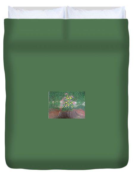 Bouquet On A Stump Duvet Cover