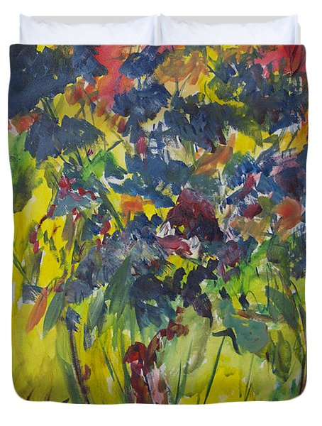 Duvet Cover featuring the painting Bouquet With Blue Flowers by Avonelle Kelsey