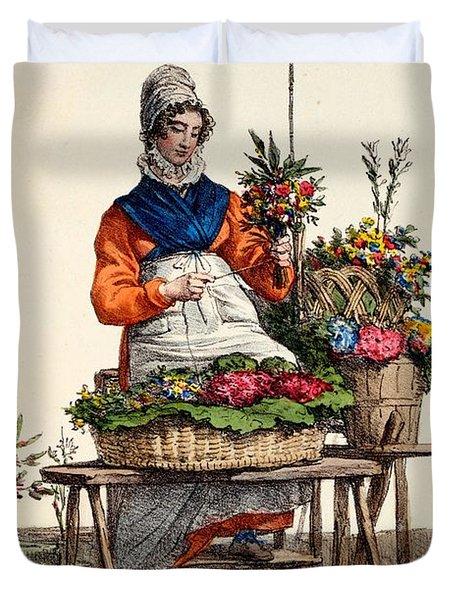 Bouquetiere Des Bouquets Pour Margot Duvet Cover by Carle Vernet