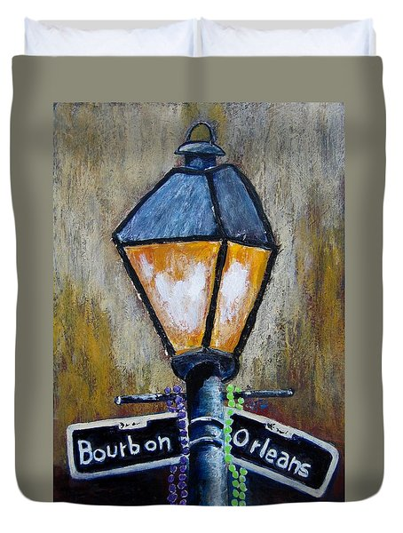 Duvet Cover featuring the painting Bourbon Light by Suzanne Theis