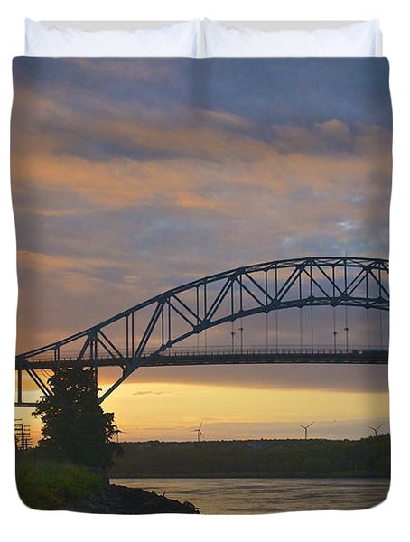 Bourne Bridge Sunrise Duvet Cover