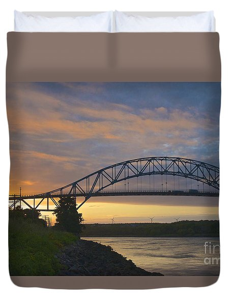 Bourne Bridge Sunrise Duvet Cover by Amazing Jules