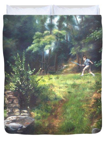 Bouts Of Fantasy Duvet Cover by Lori Brackett