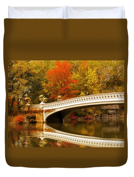 Duvet Cover featuring the photograph Bow Bridge Beauty by Jessica Jenney