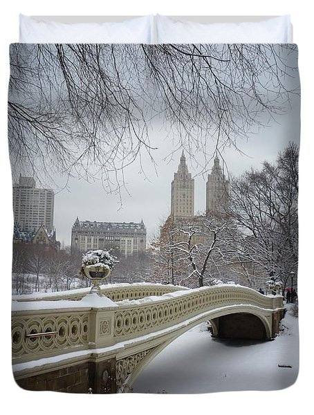 Bow Bridge Central Park In Winter  Duvet Cover