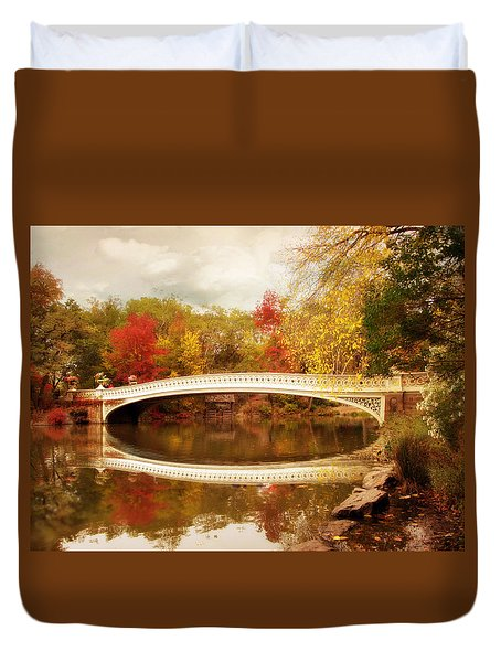 Duvet Cover featuring the photograph Bow Bridge Reflected by Jessica Jenney