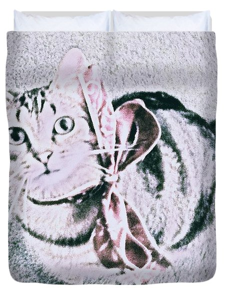 Duvet Cover featuring the digital art Bow Tie Kitty by Lisa Brandel