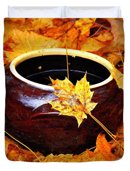 Duvet Cover featuring the photograph Bowl And Leaves by Rodney Lee Williams