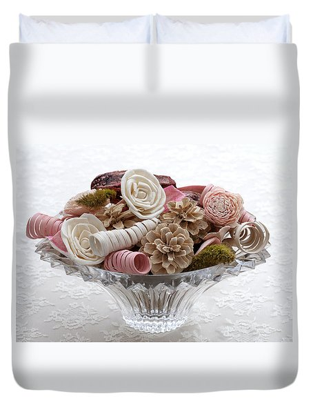 Bowl Of Potpourri On Lace Duvet Cover