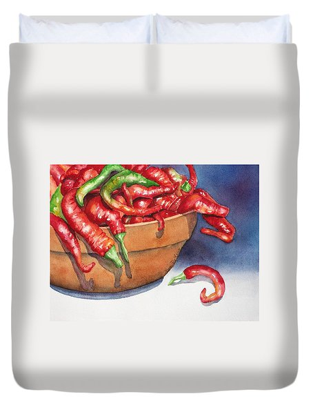 Bowl Of Red Hot Chili Peppers Duvet Cover by Lyn DeLano