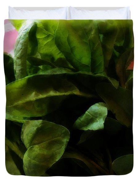 Bowl Of Spinach Duvet Cover by Aliceann Carlton