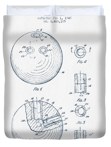 Bowling Ball Patent Drawing From 1949 - Blue Ink Duvet Cover