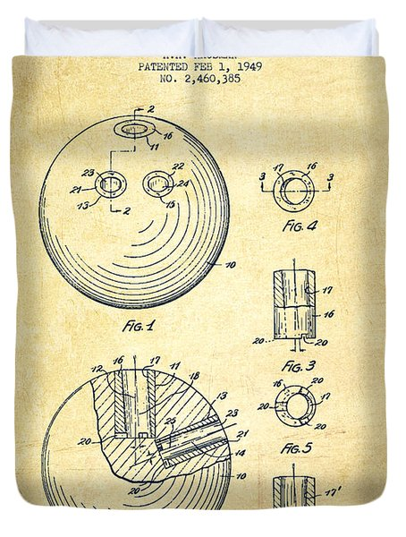 Bowling Ball Patent Drawing From 1949 - Vintage Duvet Cover