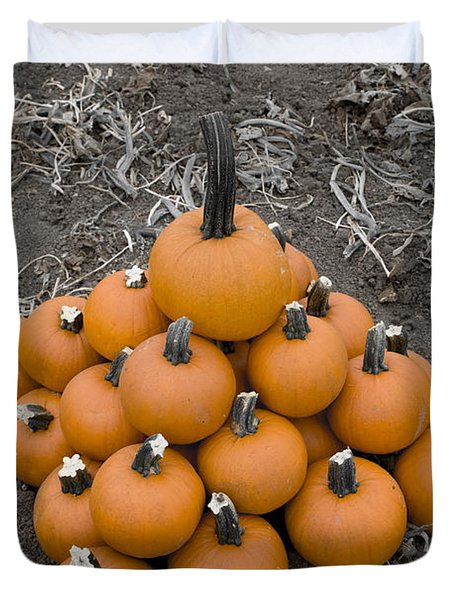 Duvet Cover featuring the photograph Bowling For Pumpkins by David Millenheft