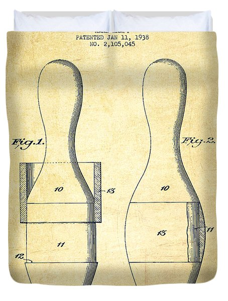 Bowling Pin Patent Drawing From 1938 - Vintage Duvet Cover