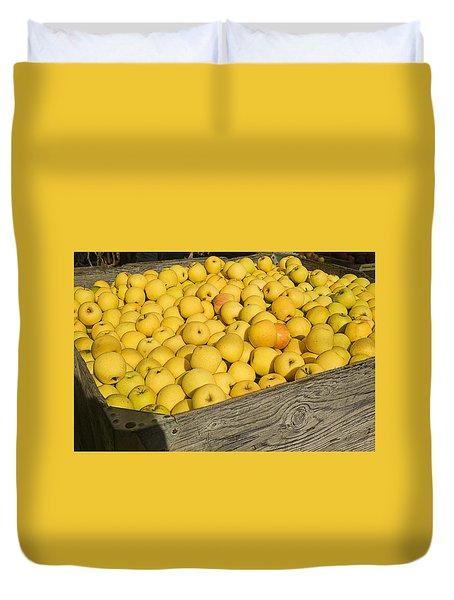 Box Of Golden Apples Duvet Cover by Garry Gay