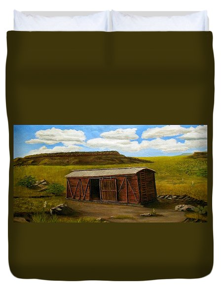 Boxcar On The Plains Duvet Cover by Sheri Keith