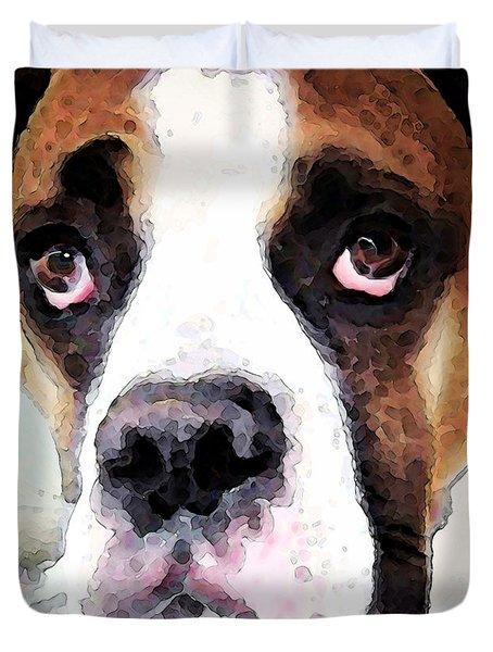 Boxer Art - Sad Eyes Duvet Cover by Sharon Cummings