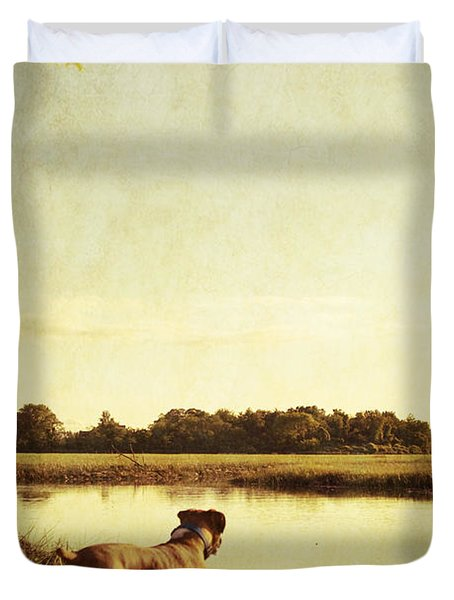 Boxer Dog By The Pond At Sunset Duvet Cover by Stephanie McDowell