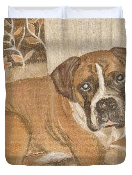 Boxer Dog George Duvet Cover by Faye Symons