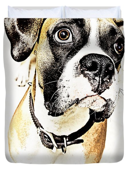 Duvet Cover featuring the photograph Boxer Dog Poster by Peter v Quenter