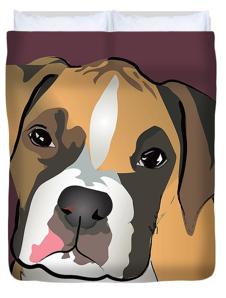 Boxer Puppy Pet Portrait  Duvet Cover
