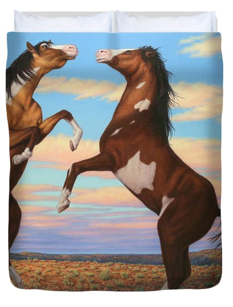 Boxing Horses Duvet Cover by James W Johnson