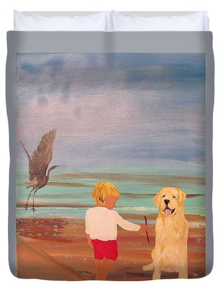 Boy And Dog Duvet Cover