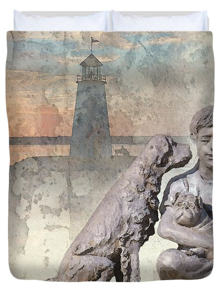 Boy And His Dogs Sculpture Duvet Cover by Betty LaRue