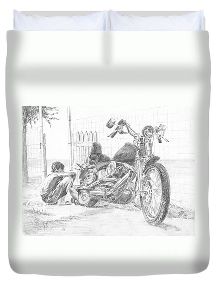 Boy And Motorcycle Duvet Cover