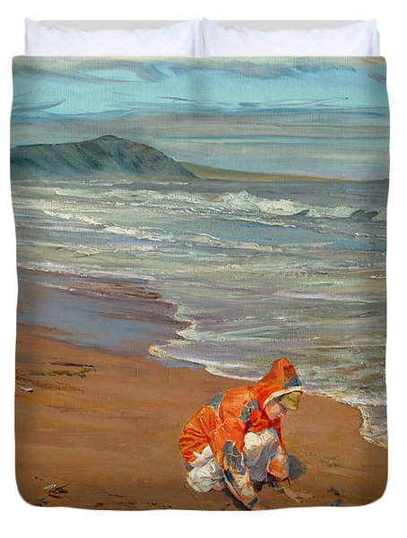 Boy At The Seashore Duvet Cover