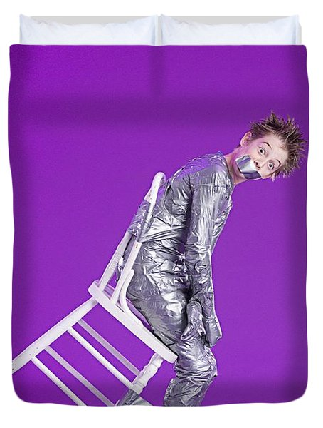 Boy Bound By Duct Tape Duvet Cover by Ron Nickel