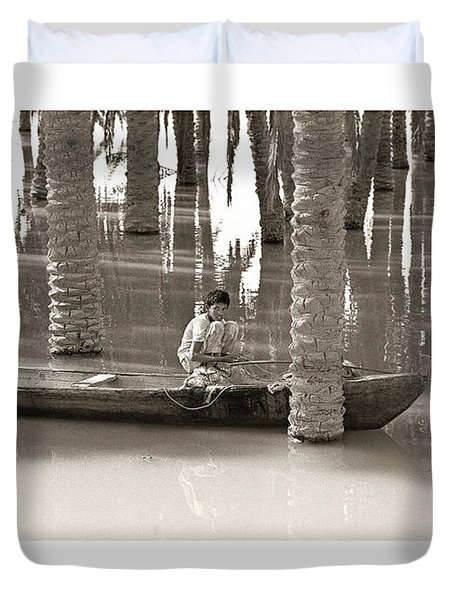 Duvet Cover featuring the photograph Boy Fishing by Tina Manley