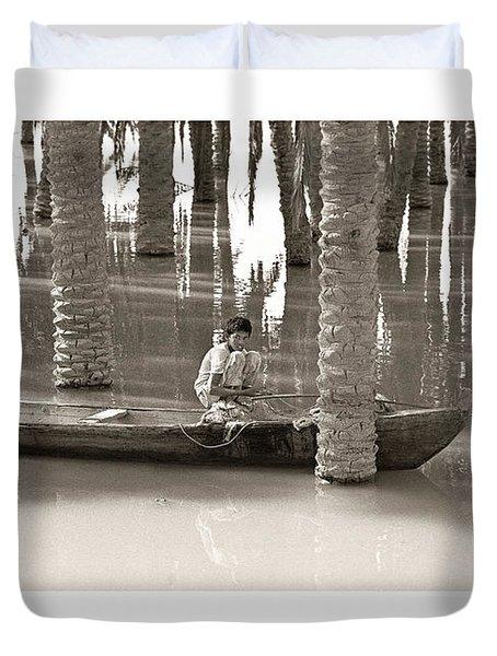 Boy Fishing Duvet Cover