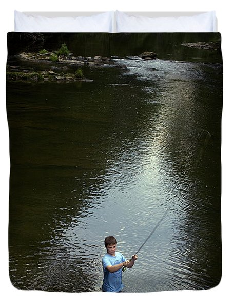 Boy Fly Fishes In River In Nc Duvet Cover