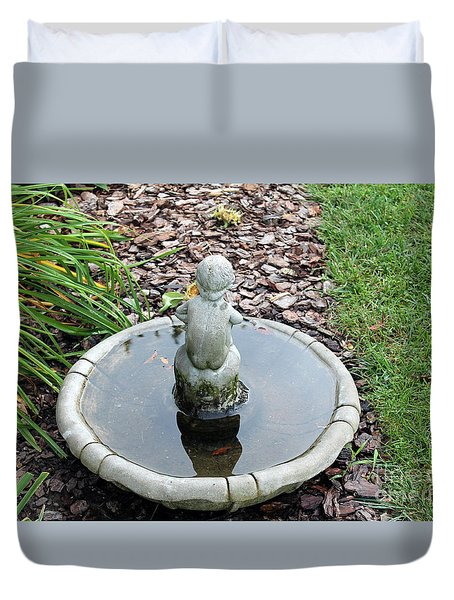 Boy In A Bird Bath Duvet Cover